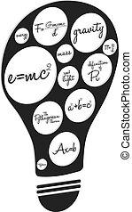 mathematik, begriff, glühlampe