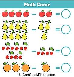 Färbung, erzieherisch, buch, spiel, subtraktion. Mathematisch ...