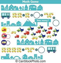 Erzieherisch, hinzufügung, spiel, children., mathematik, activity ...