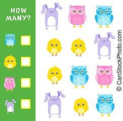 mathematisch, erzieherisch, tiere, illustration., viele, calculation., wie, spiel, vektor, kids.