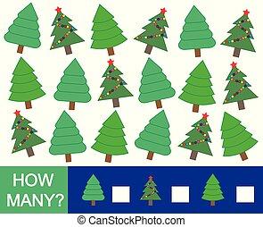 mathematisch, illustration., viele, baum, (fir)., wie, spiel, vektor, children., weihnachten