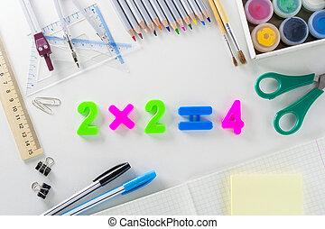 """mathematisch, schule, """"2*2=4"""", gleichung, plastik, zahlen, hintergrund, mehrfarbig, weißes, articles."""