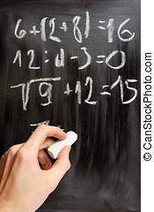mathematisch, tafel, schreibt, hand, schwarz, gleichungen