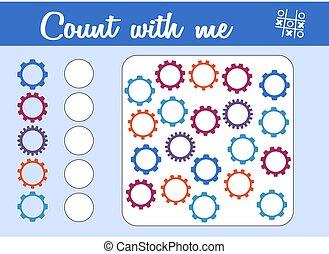 mathematisch, zählen, erzieherisch, game., schreiben, wie, spiel, ergebnis, viele, children., zählen, zahnräder, vorschulisch