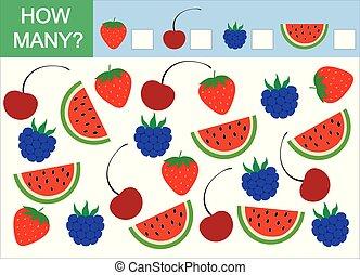 mathematisch, zählen, viele, spiel, wie, berries., vektor, children.