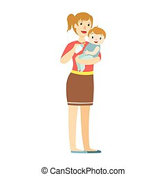 Mather With Baby In Sling Feeding Boy With Milk Bottle, Illustration From Happy Loving Families Series