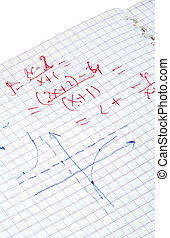 maths, écrit, calculs, main