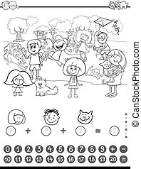 maths activity coloring book - Black and White Cartoon...