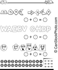 Black and White Cartoon Illustration of Educational Mathematical Addition Activity Task for Preschool Children with Shapes and Letters for Coloring Book