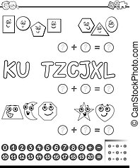 maths activity for coloring - Black and White Cartoon ...