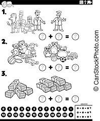 Black and White Cartoon Illustration of Educational Mathematical Addition Puzzle Task with Comic People and Objects Coloring Book Page