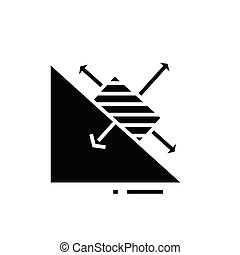 Maths chart black icon, concept illustration, vector flat symbol, glyph sign.