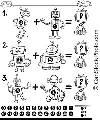 Black and White Cartoon Illustration of Educational Mathematical Activity Game for Children with Robots Coloring Book