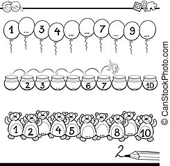 Black and White Cartoon Illustration of Educational Mathematical Activity for Children with Count to Ten Task Coloring Book