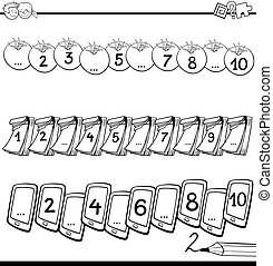 Black and White Cartoon Illustration of Educational Mathematical Activity for Children with Count to Ten Lesson Coloring Book