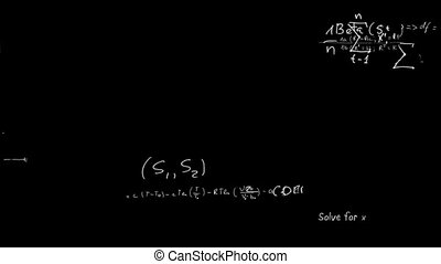 Maths equations appearing in chalk on board animation