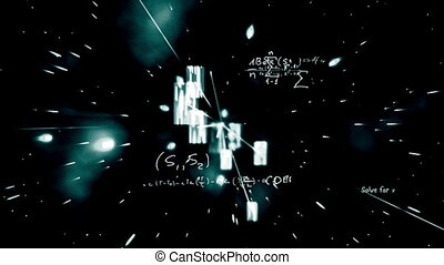 Maths equations appearing on galactic background and zooming...