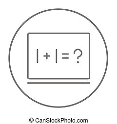 Maths example written on blackboard line icon for web, mobile and infographics. Vector grey thin line icon in the circle isolated on white background.