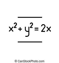 Maths exercises black icon, concept illustration, vector flat symbol, glyph sign.