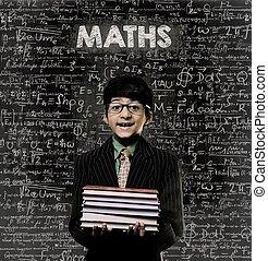 maths., génie, petit garçon, tenue, livre, portant lunettes, tableau