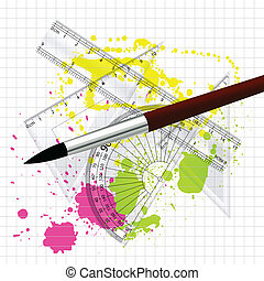 Conceptual Creative Abstract Artistic Design Art of Drawing and Maths Measurement Units - Vector Illustration