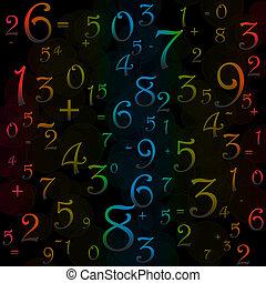 maths, noir, nombres, fond, signes