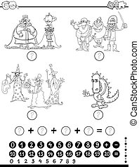 maths, pédagogique, coloration, jeu, page