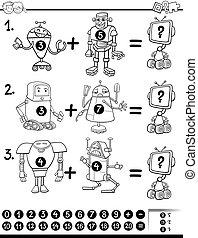 maths, pédagogique, coloration, page