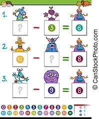 maths subtraction game with monster characters - Cartoon...