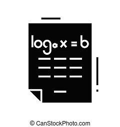 Maths work black icon, concept illustration, vector flat symbol, glyph sign.