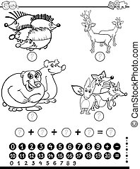 Black and White Cartoon Illustration of Educational Counting Mathematical Activity for Children with Wild Animal Characters Coloring Page