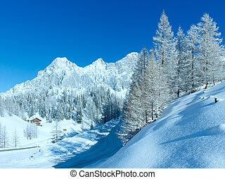 matin, hiver, road., alpin
