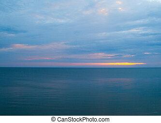 matin, mer, nuageux, calme