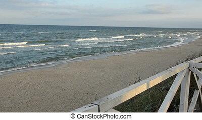 matin, mer, paysage, vagues