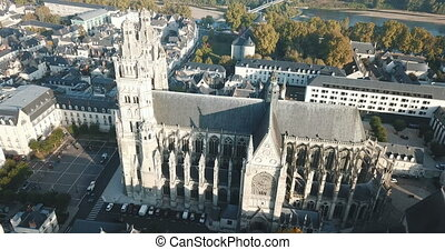 matin, romain, tours, cathédrale, automne, catholique