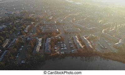 matin, secteur, brumeux, panorama, résidentiel, aérien, ...