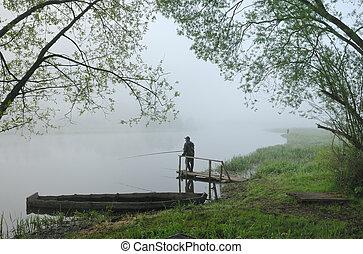 matin, sur, les, rivière