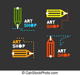 matita, addestramento, concetto, contorno, corsi, stationery, icon., mentorship, logo., negozio