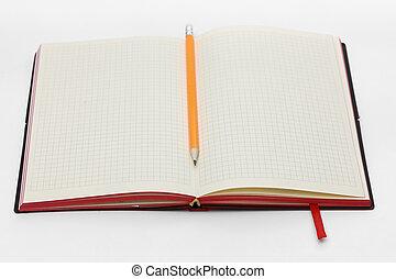 matita, affari, mockup, rotolato, concept., bianco, buffetto, collezione, cima, quaderno, fondo, riccio, aperto, pagina, vista