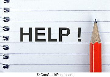 matita, blocco note, aiuto, testo