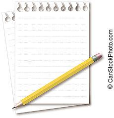 matita, blocco note, giallo, vuoto