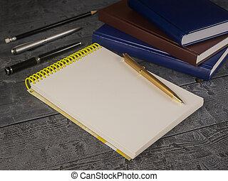 matita, blocco note, legno, libro aperto, nero, penna, tavola.