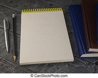 matita, blocco note, legno, libro aperto, penna, tavola.