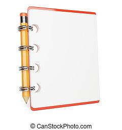matita, blocco note, vuoto