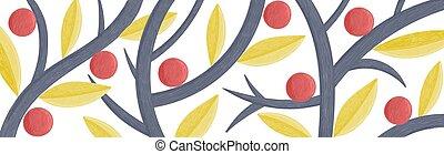 matita, branches., colorare, astratto, lungo, creativo, stilizzato, vettore, illustrazione, fondo, frutte, foglie, disegno