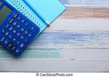 matita, calcolatore, tavola, blocco note, spazio copia, legno