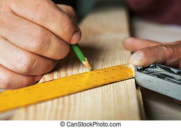 matita, closeup., mani, maschio, righello