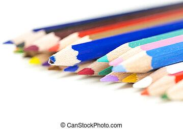 matita colorata, pastelli, con, fuoco, a, uno, rotto, uno