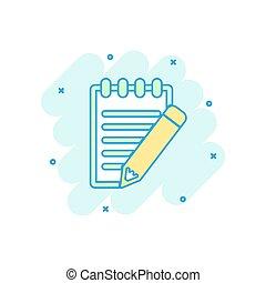 matita, colorato, affari, concept., quaderno, illustrazione, segno, nota, schizzo, pictogram., comico, documento, style., cartone animato, icona