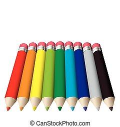 matita, colorato, collezione